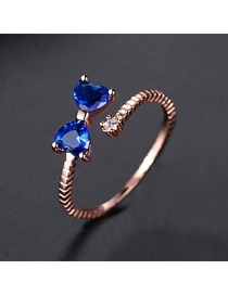 Fashion Blue Zirconium Rose Gold-t18d26 Bow Opening Adjustable Ring