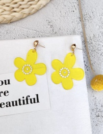Fashion Yellow Flower Acrylic Stud Earrings