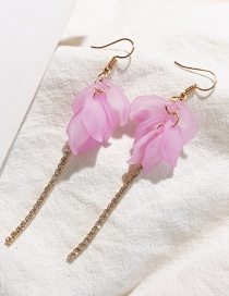 Fashion Purple Petal-studded Tassel Earrings