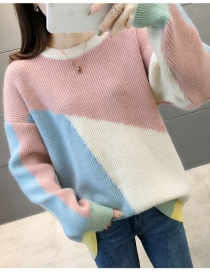 Fashion White Collar Colorblock Sweater