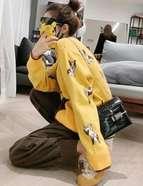 Fashion Yellow Contrast Puppy Sweater