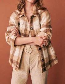 Fashion Khaki Front Row Plaid Wool Jacket