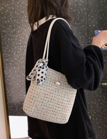 Fashion White Woolen Shoulder Shoulder Bag