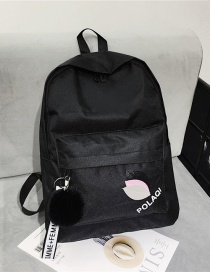 Fashion Black Canvas Leaf Letter Backpack