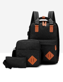 Fashion Black Contrast Stitching Usb Charging Backpack Three-piece Suit