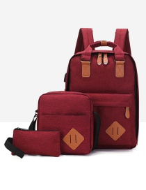 Fashion Red Wine Contrast Stitching Usb Charging Backpack Three-piece Suit