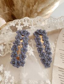 Fashion Square - Fog Blue Velvet Flower Hair Clips (single Price)
