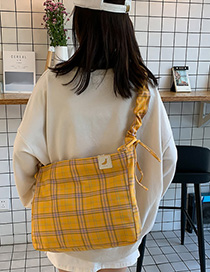 Fashion Yellow Plaid Fabric Crossbody Shoulder Bag