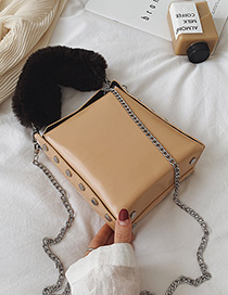 Fashion Vintage Khaki Chain Plush Crossbody Shoulder Bag