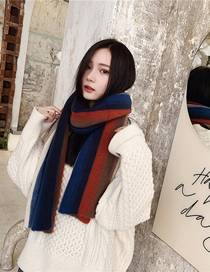 Fashion Navy Knitted Multicolored Woolen Collar