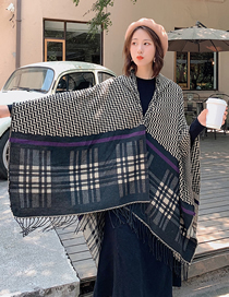 Fashion Black Striped Plaid Cape Shawl