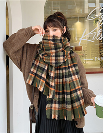 Fashion Army Green Plaid Long Plaid Imitation Cashmere Shawl