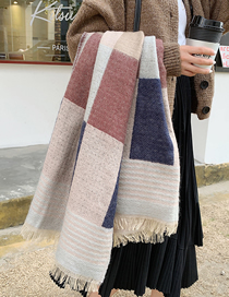 Fashion Rice Gray Thick Plaid Imitation Cashmere Shawl Scarf