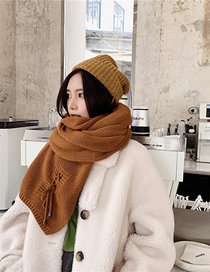 Fashion Brown Knitted Wool Scarf