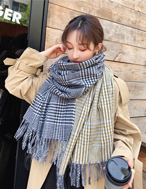 Fashion Yellow-green Houndstooth Fringed Thick Houndstooth Scarf