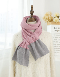 Fashion Light Purple Gray Color Matching Knitted Wool Scarf
