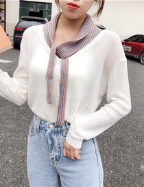 Fashion Purple Stripe Knitted Fake Collar Knotted Small Vest
