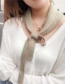 Fashion Gray Stripe Knitted Fake Collar Knotted Small Vest