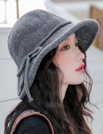 Fashion Dark Gray Knitted Terry Curling Basin Cap