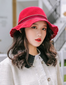Fashion Red Wine Bow Lace Openwork Knit Fisherman Hat