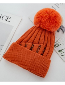 Fashion Orange Knitted Double-layer Plus Velvet Thick Wool Cap