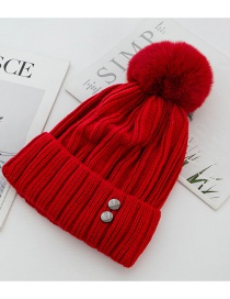 Fashion Red Double-layer Plus Velvet Knit Double Rivet Wool Ball Wool Cap