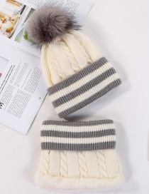 Fashion White Plush Knitted Hat Bib Two-piece