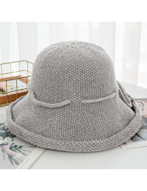 Fashion Light Grey Tethered Bow-knitted Knit Wool Cap
