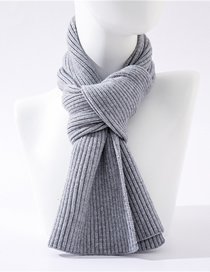 Fashion Medium Gray Thick Wool Knit Collar