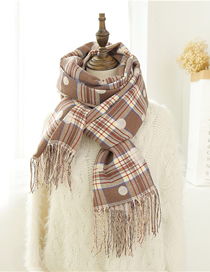 Fashion Khaki Cashmere Plaid Shawl Bib Dual Purpose