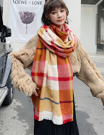 Fashion Orange Plaid Plaid Cashmere Short Shawl Bib