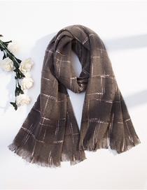 Fashion Gray Plaid Imitation Cashmere Fringed Shawl Scarf Dual Use