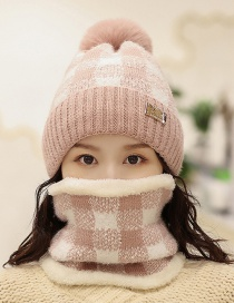Fashion Pink Plus Velvet Color Matching Plaid Pearl Wool Cap