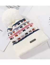 Fashion White Knitted Color Matching Wool Ball Cap