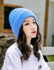 Fashion Blue Embroidered Smiley Plus Velvet Knitted Wool Cap