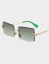 Fashion Gold Frame Green Ash Frameless Trimmed Square Sunglasses