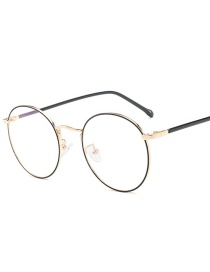 Fashion Gold Frame Point Black Circle Round Metal Frame Flat Mirror Glasses