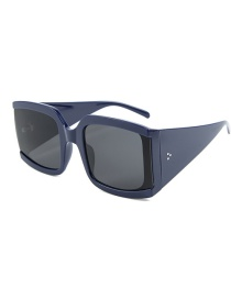 Fashion Blue Frame Full Gray Square Big Box Thick Feet Sunglasses