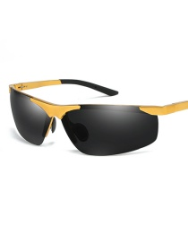 Fashion Gold Frame Black Ash Eyebrow-free Square Aluminum-magnesium Polarized Sunglasses