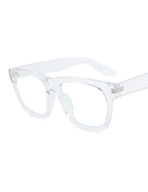 Fashion Transparent Frame Blu-ray Flat Mirror Glasses