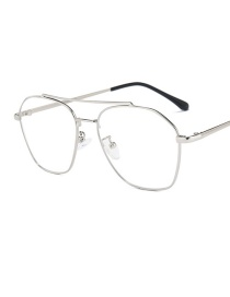 Fashion Silver Frame Large Frame Double Beam Anti-blue Flat Mirror Glasses