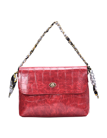 Fashion Wine Red Stone Pattern Shoulder Messenger Bag  Pu