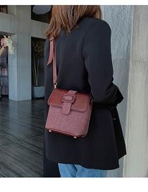 Fashion Red Wine Contrast Single Back Messenger Bag  Pu