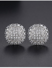 Fashion 18k Pave Zircon Round Earrings