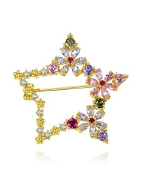 Fashion 18k Copper Inlaid Zirconium Five-pointed Star Brooch