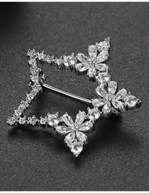 Fashion Platinum Copper Inlaid Zirconium Five-pointed Star Brooch