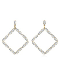Fashion 18k Square Copper Inlay Zircon Earrings