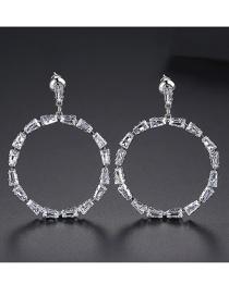 Fashion Platinum Copper Inlay Zircon Earrings