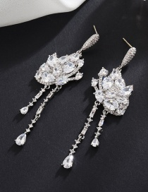 Fashion White S925 Sterling Silver Needle Micro Inlaid Zircon Butterfly Tassel Earrings