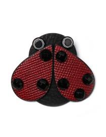 Fashion Red Ladybug Leather Brooch